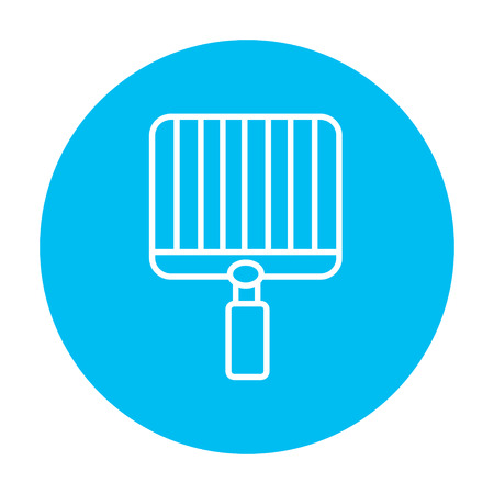 metal grate: Empty barbecue grill grate line icon for web, mobile and infographics. Vector white icon on the light blue circle isolated on white background.