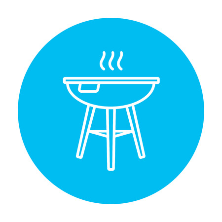 Kettle barbecue grill line icon for web, mobile and infographics. Vector white icon on the light blue circle isolated on white background.