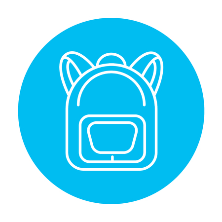 Backpack line icon for web, mobile and infographics. Vector white icon on the light blue circle isolated on white background. Ilustração