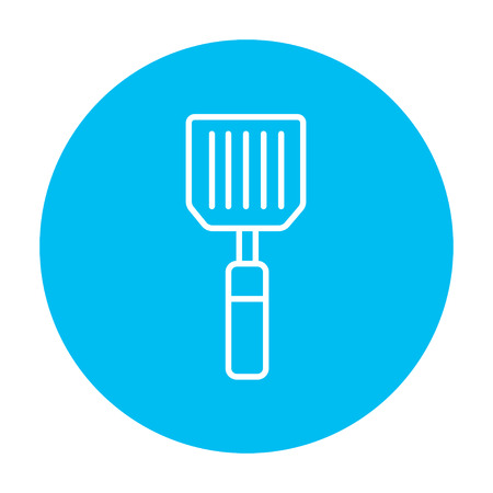 blue white kitchen: Kitchen spatula line icon for web, mobile and infographics. Vector white icon on the light blue circle isolated on white background.