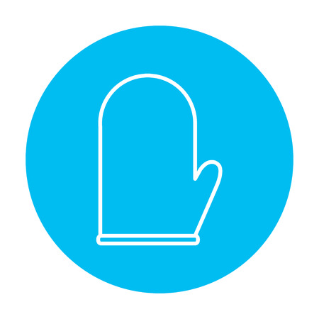 blue white kitchen: Kitchen glove line icon for web, mobile and infographics. Vector white icon on the light blue circle isolated on white background.