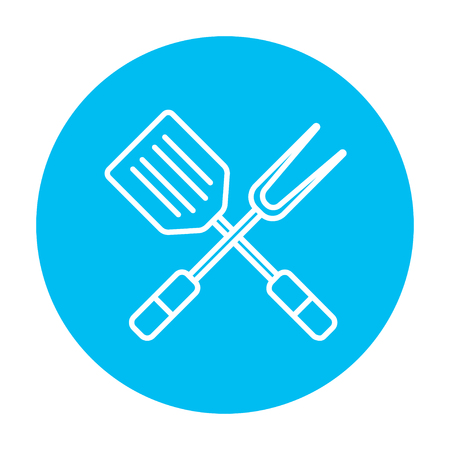 blue white kitchen: Crossed kitchen spatula and big fork line icon for web, mobile and infographics. Vector white icon on the light blue circle isolated on white background. Illustration