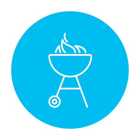 barbecue stove: Kettle barbecue grill with flame line icon for web, mobile and infographics. Vector white icon on the light blue circle isolated on white background.