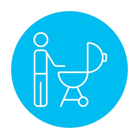 Man at kettle barbecue grill line icon for web, mobile and infographics. Vector white icon on the light blue circle isolated on white background.
