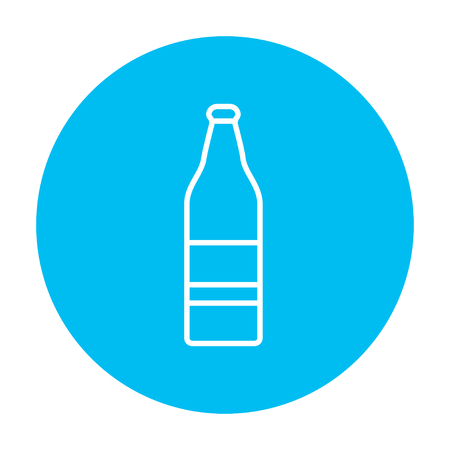 scotch: Glass bottle line icon for web, mobile and infographics. Vector white icon on the light blue circle isolated on white background.