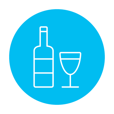brandy: Bottle of wine line icon for web, mobile and infographics. Vector white icon on the light blue circle isolated on white background. Illustration