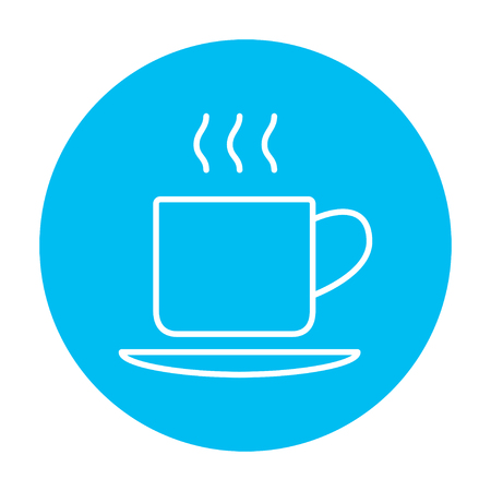 Cup of hot drink line icon for web, mobile and infographics. Vector white icon on the light blue circle isolated on white background. Ilustração