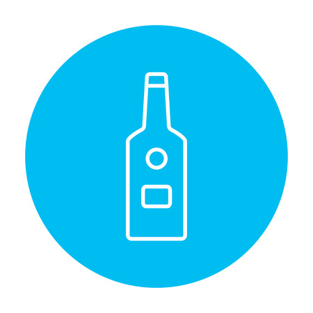 scotch whisky: Glass bottle line icon for web, mobile and infographics. Vector white icon on the light blue circle isolated on white background.