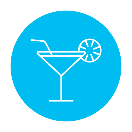 vermouth: Cocktail glass line icon for web, mobile and infographics. Vector white icon on the light blue circle isolated on white background.