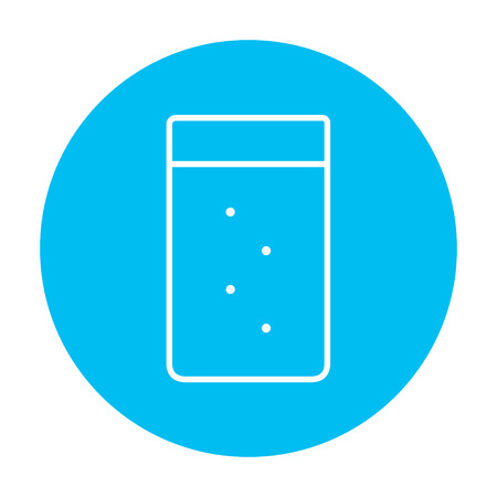 Glass of water line icon for web, mobile and infographics. Vector white icon on the light blue circle isolated on white background.