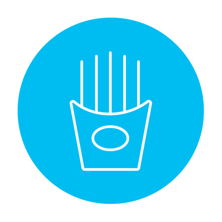 French fries line icon for web, mobile and infographics. Vector white icon on the light blue circle isolated on white background.