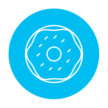 Web、モバイル、インフォ グラフィックのドーナツ ライン アイコン。白い背景に分離された光の青い円の上の白いベクトルのアイコン。