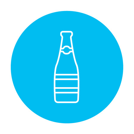 Glass bottle line icon for web, mobile and infographics. Vector white icon on the light blue circle isolated on white background.