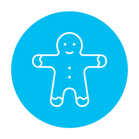 Gingerbread man line icon for web, mobile and infographics. Vector white icon on the light blue circle isolated on white background.