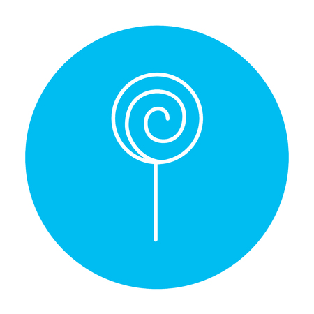 Spiral lollipop line icon for web, mobile and infographics. Vector white icon on the light blue circle isolated on white background.