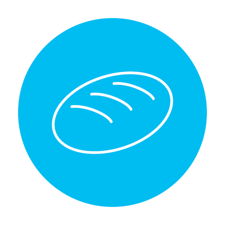 art product: Loaf line icon for web, mobile and infographics. Vector white icon on the light blue circle isolated on white background.
