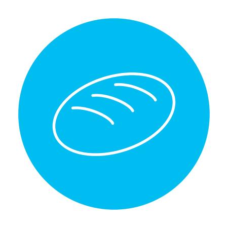 Web、モバイル、インフォ グラフィックのパン線アイコン。白い背景に分離された光の青い円の上の白いベクトルのアイコン。  イラスト・ベクター素材