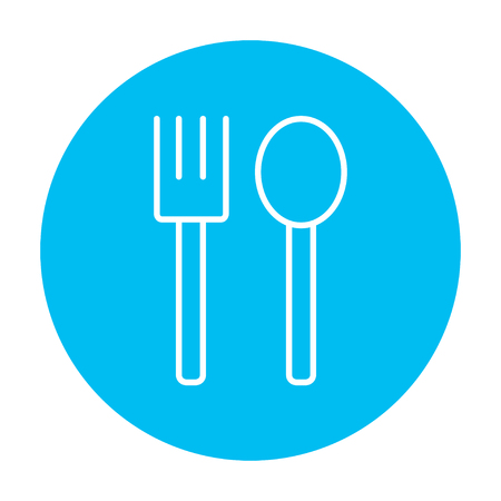 meat chopper: Spoon and fork line icon for web, mobile and infographics. Vector white icon on the light blue circle isolated on white background.