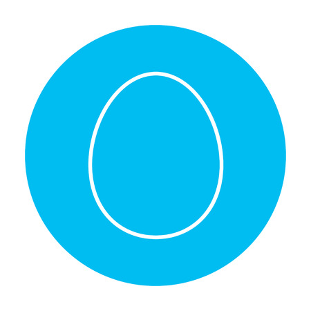 Egg line icon for web, mobile and infographics. Vector white icon on the light blue circle isolated on white background.