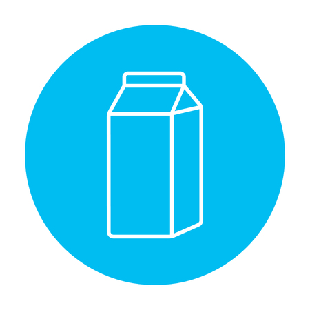 packaged: Packaged dairy product line icon for web, mobile and infographics. Vector white icon on the light blue circle isolated on white background.