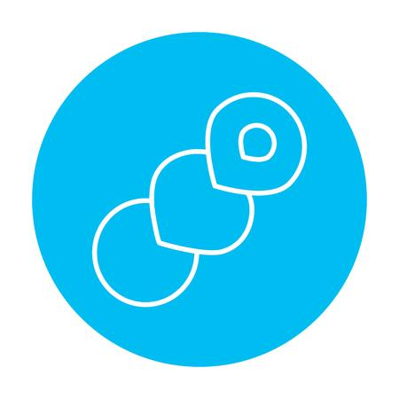 Web、モバイル、インフォ グラフィックのスパイラル パン線アイコン。白い背景に分離された光の青い円の上の白いベクトルのアイコン。