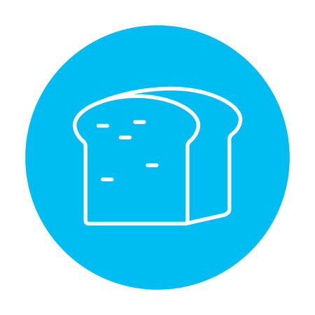 wholemeal: Half of bread line icon for web, mobile and infographics. Vector white icon on the light blue circle isolated on white background.