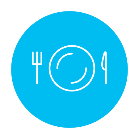 meat chopper: Plate with cutlery line icon for web, mobile and infographics. Vector white icon on the light blue circle isolated on white background.