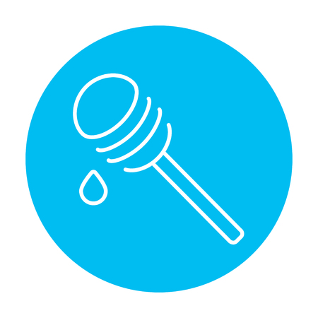 dipper: Honey dipper line icon for web, mobile and infographics. Vector white icon on the light blue circle isolated on white background. Illustration