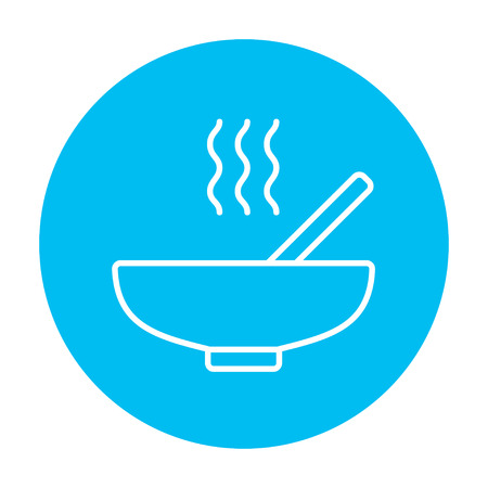 broth: Bowl of hot soup with spoon line icon for web, mobile and infographics. Vector white icon on the light blue circle isolated on white background.
