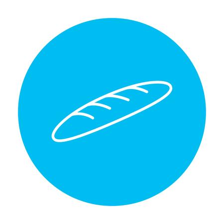 Web、モバイル、インフォ グラフィックのバゲット ライン アイコン。白い背景に分離された光の青い円の上の白いベクトルのアイコン。