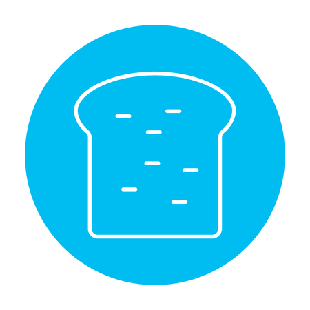 wholemeal: Single slice of bread line icon for web, mobile and infographics. Vector white icon on the light blue circle isolated on white background.