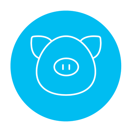 pigling: Pig head line icon for web, mobile and infographics. Vector white icon on the light blue circle isolated on white background.