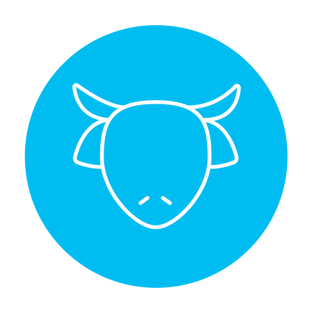 Cow head line icon for web, mobile and infographics. Vector white icon on the light blue circle isolated on white background.