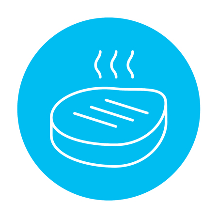 Grilled steak line icon for web, mobile and infographics. Vector white icon on the light blue circle isolated on white background.