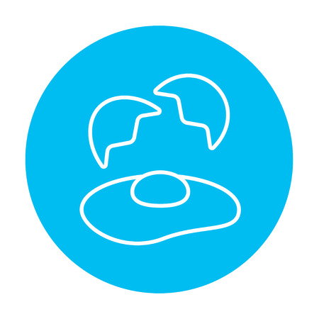 Broken egg and shells line icon for web, mobile and infographics. Vector white icon on the light blue circle isolated on white background.