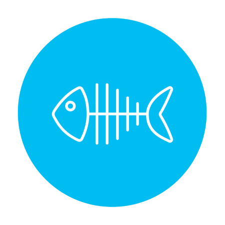 wildlife design: Fish skeleton line icon for web, mobile and infographics. Vector white icon on the light blue circle isolated on white background.