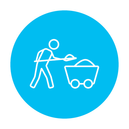 Mining worker with trolley line icon for web, mobile and infographics. Vector white icon on the light blue circle isolated on white background. Stock Illustratie
