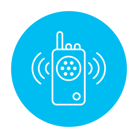 transmit: Radio set line icon for web, mobile and infographics. Vector white icon on the light blue circle isolated on white background. Illustration