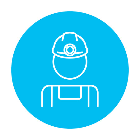 coal miner: Coal miner line icon for web, mobile and infographics. Vector white icon on the light blue circle isolated on white background.