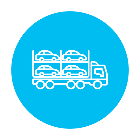 Car carrier line icon for web, mobile and infographics. Vector white icon on the light blue circle isolated on white background.
