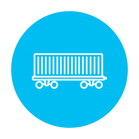 hand rails: Cargo wagon line icon for web, mobile and infographics. Vector white icon on the light blue circle isolated on white background.