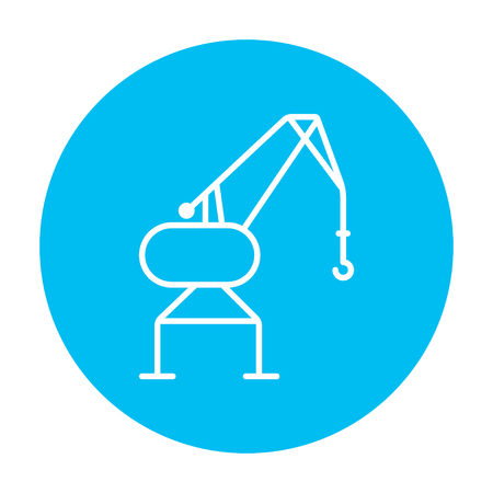 Harbor crane line icon for web, mobile and infographics. Vector white icon on the light blue circle isolated on white background. Illustration