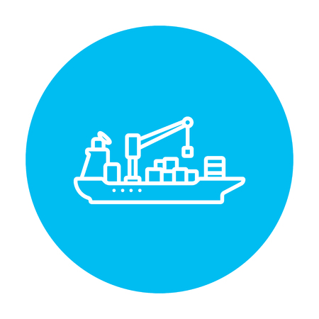navy pier: Cargo container ship line icon for web, mobile and infographics. Vector white icon on the light blue circle isolated on white background. Illustration