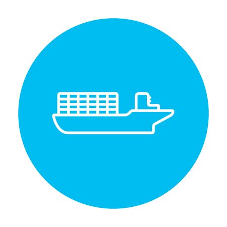 loading dock: Cargo container ship line icon for web, mobile and infographics. Vector white icon on the light blue circle isolated on white background. Illustration