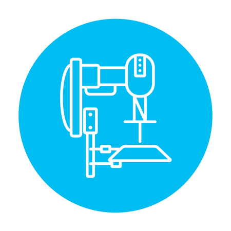 automated: Industrial automated robot line icon for web, mobile and infographics. Vector white icon on the light blue circle isolated on white background. Illustration