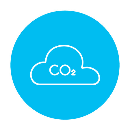 caution chemistry: CO2 sign in cloud line icon for web, mobile and infographics. Vector white icon on the light blue circle isolated on white background. Illustration