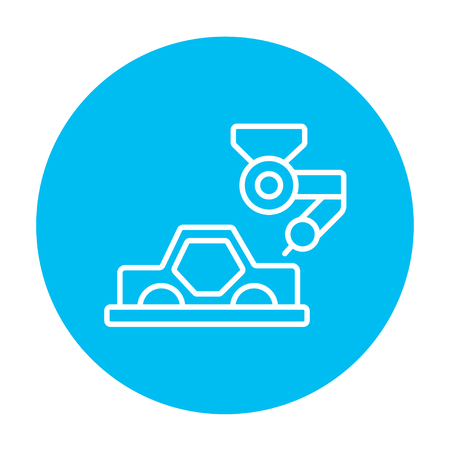 automated: Automated assembly line for cars line icon for web, mobile and infographics. Vector white icon on the light blue circle isolated on white background.