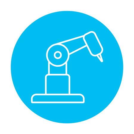 conveyor system: Industrial mechanical robot arm line icon for web, mobile and infographics. Vector white icon on the light blue circle isolated on white background.
