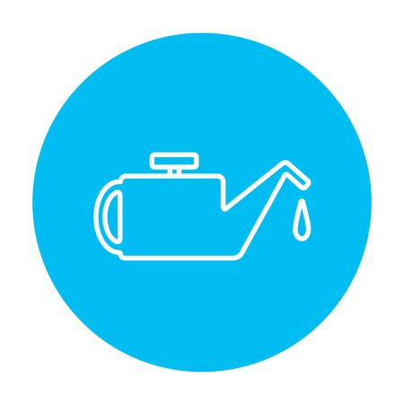 Web、モバイル、インフォ グラフィックの給油ライン アイコン。白い背景に分離された光の青い円の上の白いベクトルのアイコン。