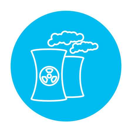 ecological damage: Nuclear power plant line icon for web, mobile and infographics. Vector white icon on the light blue circle isolated on white background. Illustration